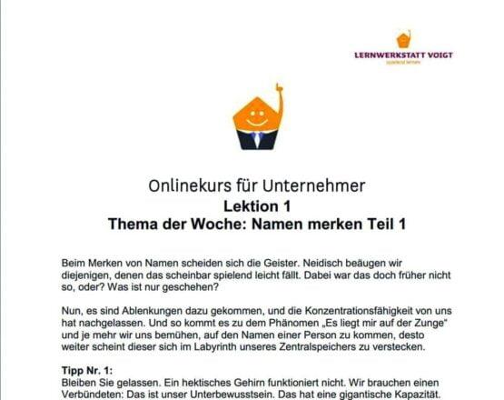 """Onlinekurs für Unternehmer """"Businessbrain für Unternehmer und Selbständige"""""""
