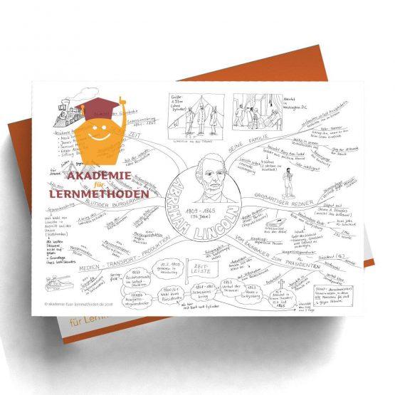 Mindmap zum Thema Abraham-Lincoln in Schwarz-Weiß