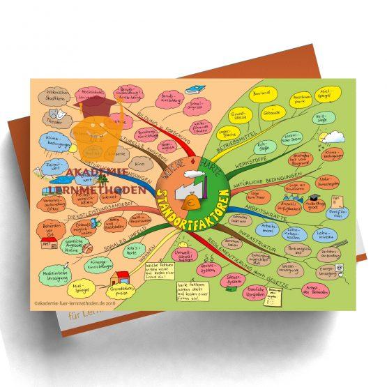 Mindmap zum Thema Standortfaktoren in Farbe